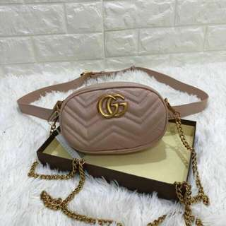 Gucci GG Marmont Belt Bag Dusty Pink Color