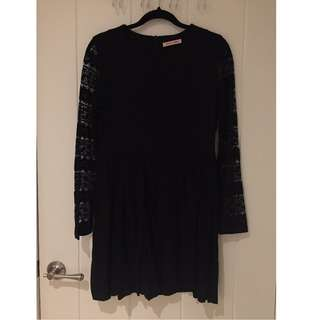 Black Lace Long Sleeved Dress - Size S/M