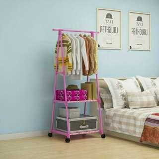 rak buku pakaian serbaguna dengan 4 roda Model standing