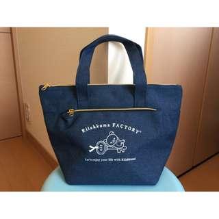 日本限定 RILAKKUMA 拉拉熊 深藍色 保溫手提便當袋 便當包 保冷袋 保冰袋 保溫袋 保溫包
