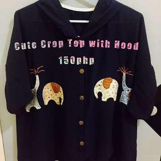 Cute Crop top with hood