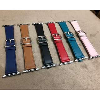 (限定優惠$118) Apple Watch 錶帶 官網同款 原裝扣真皮帶款 六色經典扣式錶帶 黑色 啡色 38mm 42mm Apple Watch Leather Strap 4 colors (非原裝)