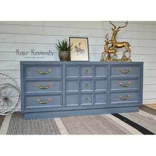 Large Vintage Navy Blue Nine Drawer Bedroom Dresser or Sideboard