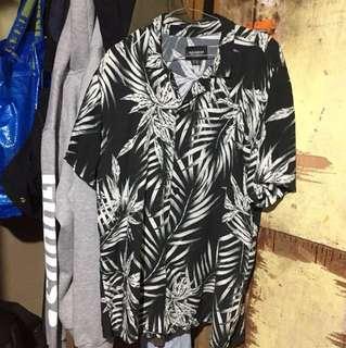 Pull & Bear Black Edition Tropical Print Shirt