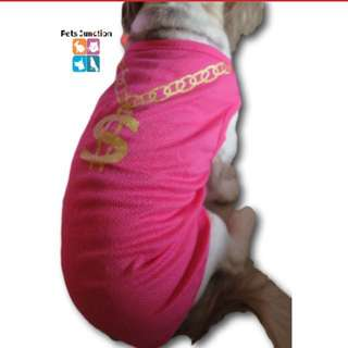 Pink gold chain pets clothing