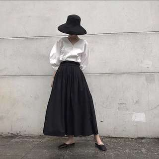 ioz 原創極簡復古棉質黑長裙