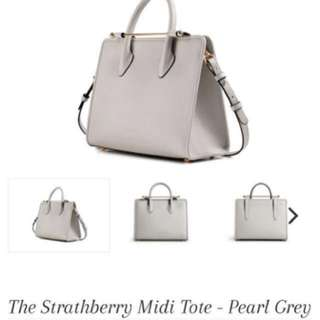 Strathberry Midi Tote- pearl grey