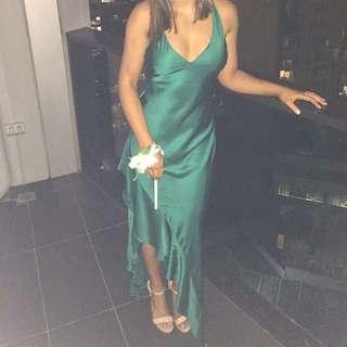 Backstage green formal dress