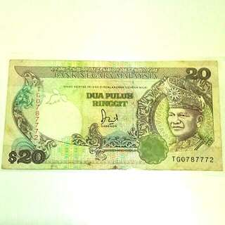 Duit Lama 20 ringgit ketas / nice number TG 0787772 old Malaysia banknote currency RM 20 money