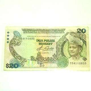 Duit Lama 20 ringgit ketas / old Malaysia banknote currency RM20 money number TD 4110835