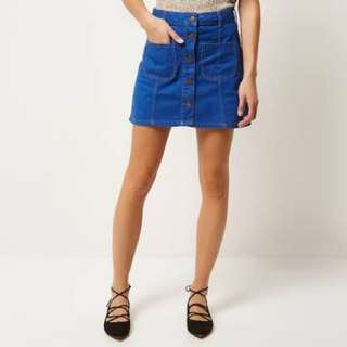 River island denim button up skirt