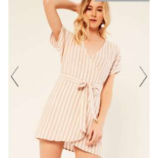 Glassons linen wrap stripe dress size 10