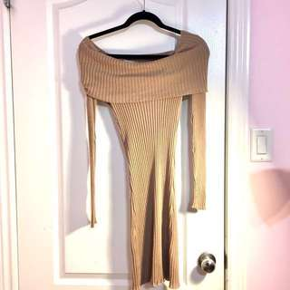 Authentic Mendocino Off the Shoulder Sweater Dress