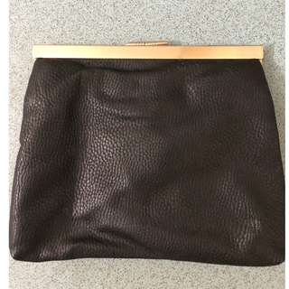 Women's Sportsgirl Black and Gold Clutch
