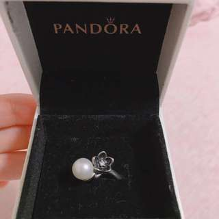 Pandora 珍珠 花花銀介指