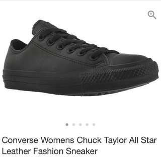 Women's 8.5 Black Leather Converse