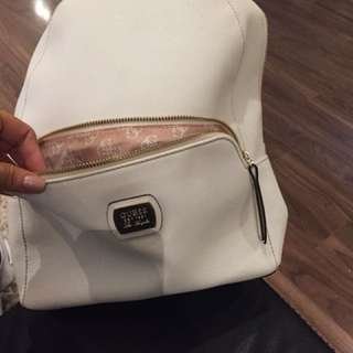 Guess white leather back pack