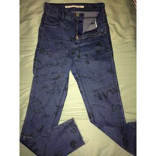 Patterned high waisted Zara jeans