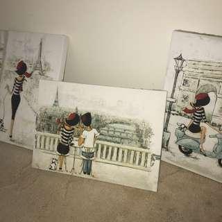 Paris Theme Lady Canvas Painting