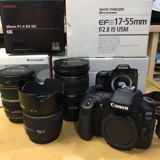 Canon 80D + 17-55mm + 10-22mm + 30mm(sigma)