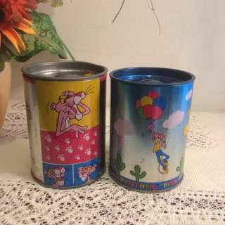 Pink Panther tin coin boxes made in Korea