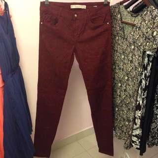 Zara Premium Quality Burgundy Jeans