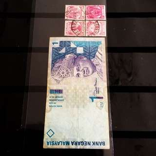 Vintage Malaysia Note-Malaya Stamps