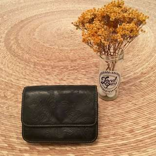 Embossed Black Leather Clutch