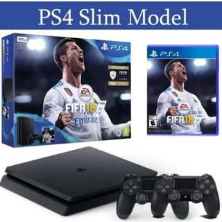 Promotion!!! Brand New PS4 Slim Console 500GB FIFA 18 + 2 Controllers + Local Warranty