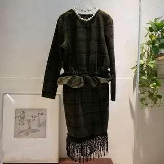 英式典雅毛格流蘇洋裝