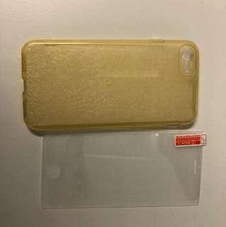 """I phone7(4.7"""") 半透明黃色磨砂軟殼及玻璃貼一塊"""