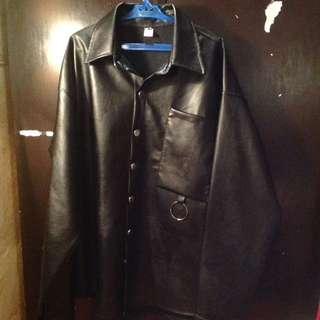 Random  leather jacket with backprint