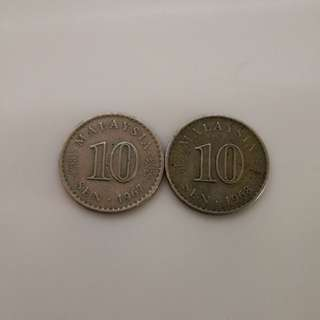 1967 1968 10cent Old Coins Malaysia