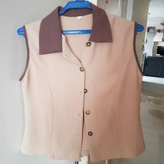 Brown Sleveless Top