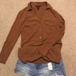 Forever21 棕色長版修身襯衫