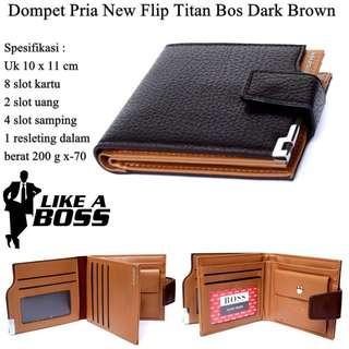 Dompet Pria Pendek New Flip Titan Dark Brown
