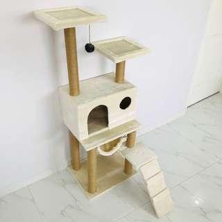 cat condo tree (Cream) new scratch pole post climb play toy