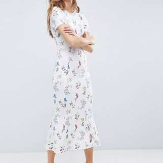 ASOS City Maxi Tea Dress in White Base Floral  UK16