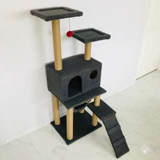 cat condo tree (grey with extra thick fur) new scratch pole post climb play toy kitten