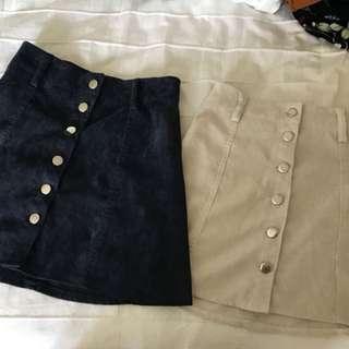 High Waist Button Skirt