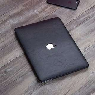 Black Leather Texture Macbook Hard Cover Case