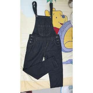黑色吊帶長褲M