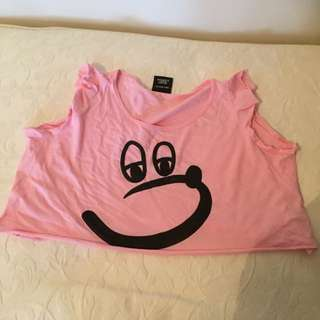 Lazy Oaf Pink Cropped Tshirt Size S