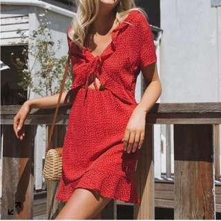 Princess Polly Red polka dot dress