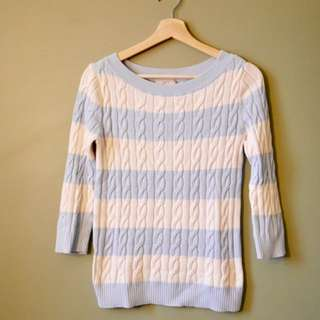 LOFT blue and white stripe knit sweater