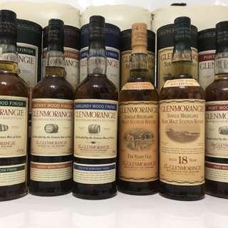 絶版舊裝Glenmorangie 格蘭傑六支蘇格蘭威士忌