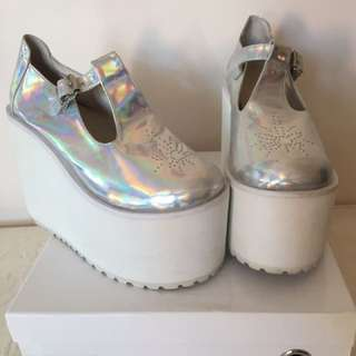 UNIF Mary Janes Holographic Platforms Size 9