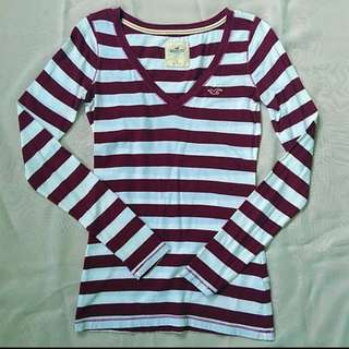 Hollister Striped Long Sleeve V neck