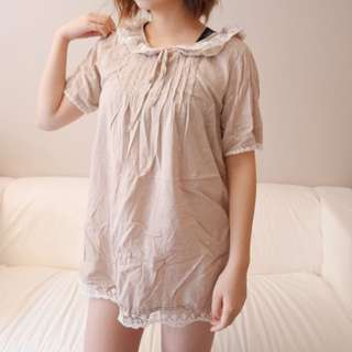 Light brown vintage linen dress