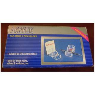 Acrylic Clip, Memo & Pen Holder New in Package